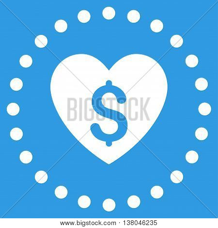 Paid Love vector icon. Style is flat circled symbol, white color, rounded angles, blue background.