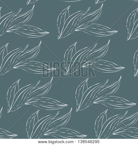 seamless pattern of white outline leaves on an green background. Seamless pattern can be used for pattern fills web page backgroundsurface textures. floral background
