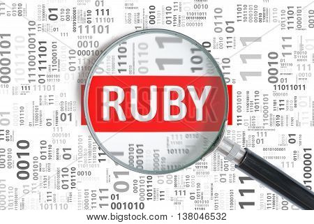 Software Development Concept. Ruby Programming Language Inside M