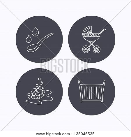 Pram carriage, spoon and drops icons. Bubbles, crib bed linear signs. Flat icons in circle buttons on white background. Vector