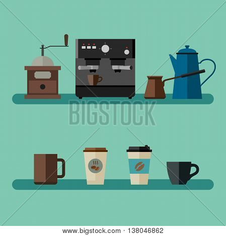 Coffee flat banner with simple icons coffee machine, cups, coffee beans and coffee pots.