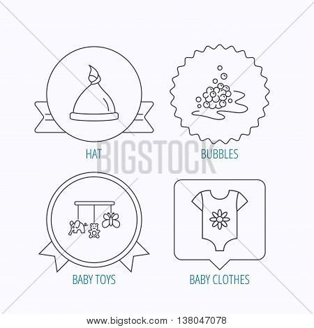 Baby clothes, bath bubbles and hat icons. Baby toys linear signs. Award medal, star label and speech bubble designs. Vector