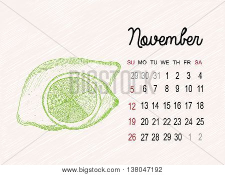 Calendar for 2017 on fruits background. November month with lime hand made in sketch style. Vector illustration