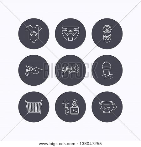 Diapers, newborn baby and clothes icons. Kids songs, beach bucket and bed linear signs. Video monitoring, wc flat line icons. Flat icons in circle buttons on white background. Vector