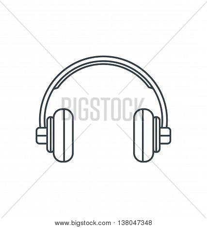 Monochrome outline flat headphones icon vector illustration