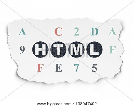 Programming concept: Painted black text Html on Torn Paper background with  Hexadecimal Code