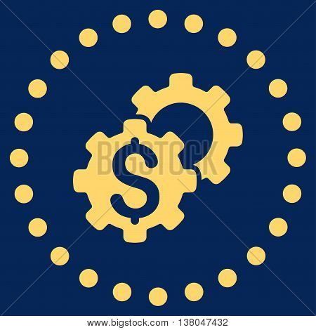 Bank Configuration vector icon. Style is flat circled symbol, yellow color, rounded angles, blue background.
