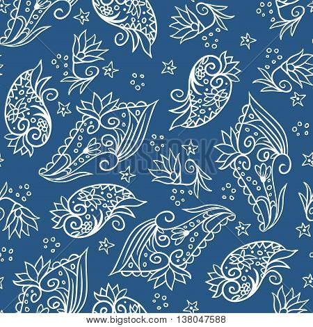 Vector seamless pattern with doodle hand drawn white elements on blue background