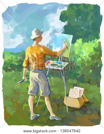 Painterly illustration of a woman painting at her easel outdoors