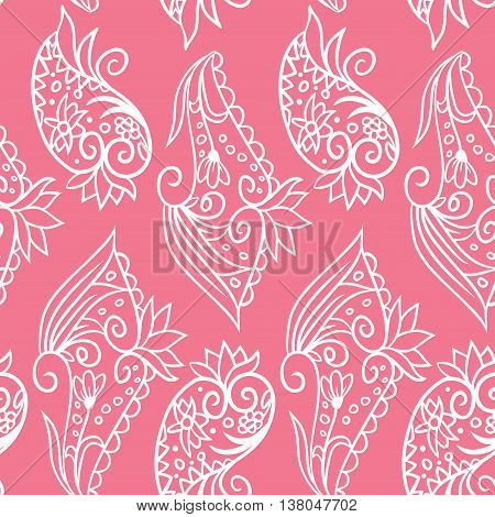 Vector seamless pattern with doodle hand drawn white elements on pink background