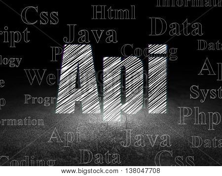 Programming concept: Glowing text Api in grunge dark room with Dirty Floor, black background with  Tag Cloud