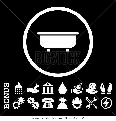 Bathtub vector icon. Image style is a flat pictogram symbol inside a circle, white color, black background. Bonus images are included.