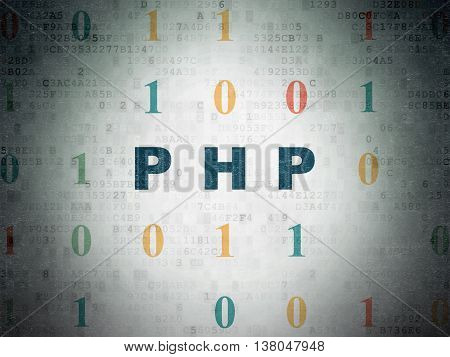 Programming concept: Painted blue text Php on Digital Data Paper background with Binary Code