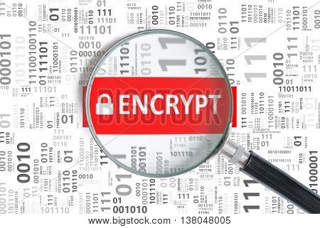Computer Security And Encryption Concept. Encrypt Word Inside Ma