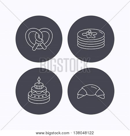 Croissant, pretzel and pancakes icons. Sweet cake linear sign. Flat icons in circle buttons on white background. Vector