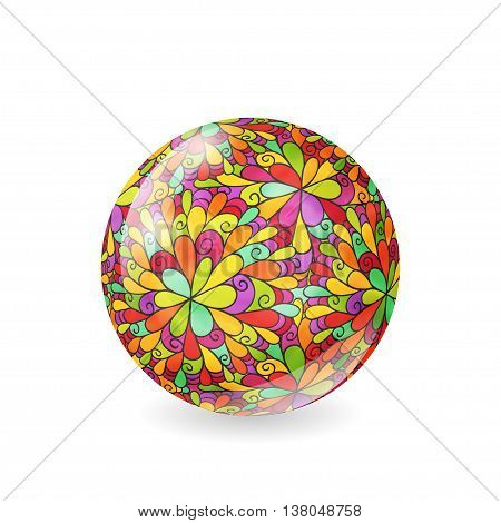 Vector illustration of glossy sphere with floral bright hand drawn pattern
