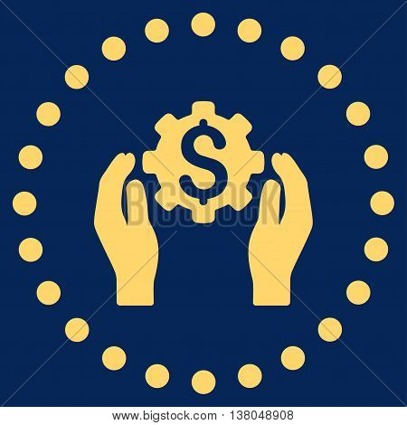 Financial Insurance Options vector icon. Style is flat circled symbol, yellow color, rounded angles, blue background.