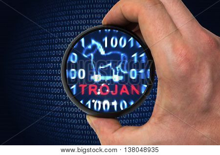 Computer security concept. Trojan alert inside magnifying glass in binary code.