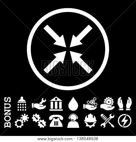 Center Arrows vector icon. Image style is a flat pictogram symbol inside a circle, white color, black background. Bonus images are included.