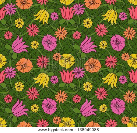 Seamless pattern with hand drawn colored flowers and leaves on lace green background