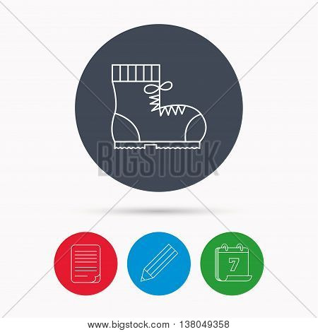 Boot icon. Hiking or work shoe sign. Military footwear symbol. Calendar, pencil or edit and document file signs. Vector