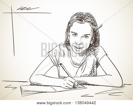 Girl writing in exercise book and looking ahead, Hand drawn illustration, Vector sketch