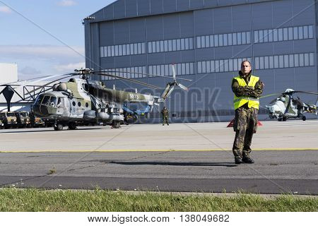 Ostrava, Czech Republic - September 22: Man Stands On A Runway During Airshow Session Nato Days With