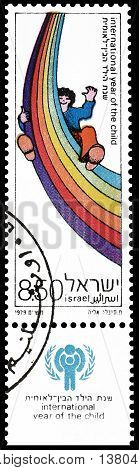 ISRAEL - CIRCA 1979 : Cancelled postage stamp printed by Israel, that shows Child and rainbow.