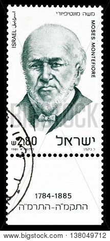 ISRAEL - CIRCA 1981 : Cancelled postage stamp printed by Israel, that shows Moses Montefiore.
