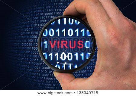 Computer security concept. Virus alert inside magnifying glass in binary code.