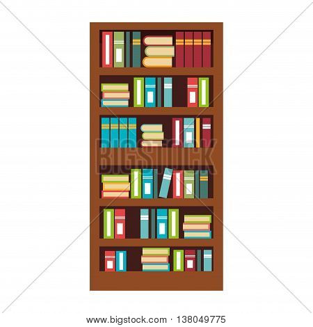 Home library with books isolated flat icon, vector illustration graphic.
