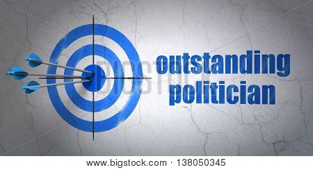 Success politics concept: arrows hitting the center of target, Blue Outstanding Politician on wall background, 3D rendering