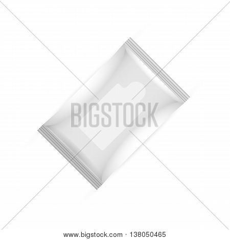 White wet wipes big package with flap isolated on white background. Ready for your design. Packaging collection.