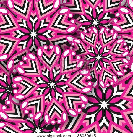 Vector background of colored mandala. Abstract pink round ornament