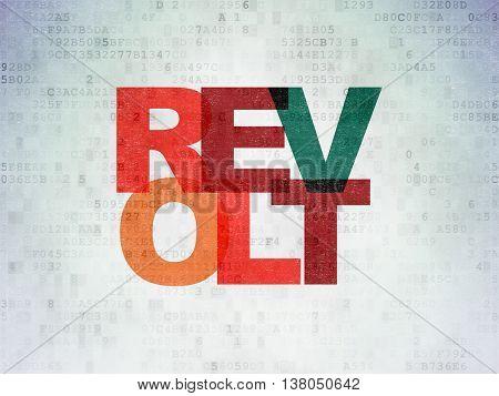 Politics concept: Painted multicolor text Revolt on Digital Data Paper background