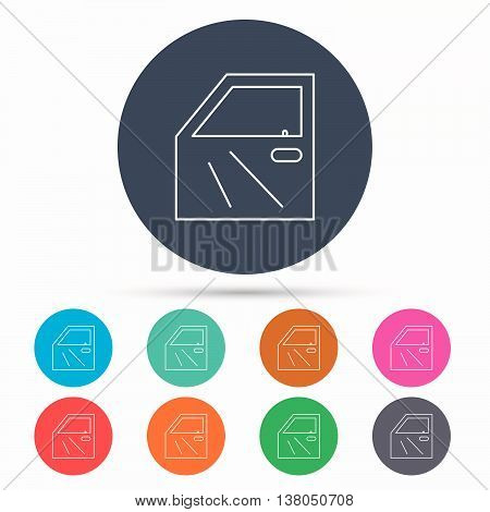 Car door icon. Automobile lock sign. Icons in colour circle buttons. Vector