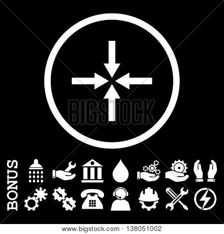 Impact Arrows vector icon. Image style is a flat pictogram symbol inside a circle, white color, black background. Bonus images are included.