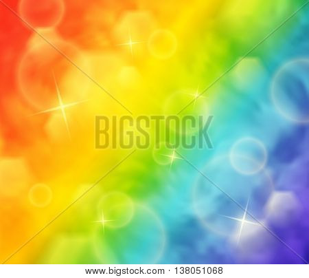 Abstract vector illustration of blurry rainbow colored background with bokeh and lights