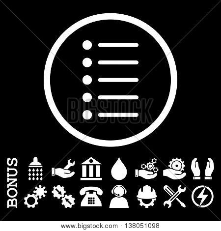 Items vector icon. Image style is a flat pictogram symbol inside a circle, white color, black background. Bonus images are included.