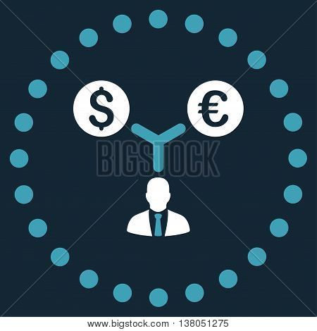 Currency Management vector icon. Style is bicolor flat circled symbol, blue and white colors, rounded angles, dark blue background.