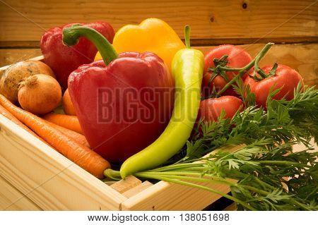 Closeup of bright fresh dewy vegetables mix