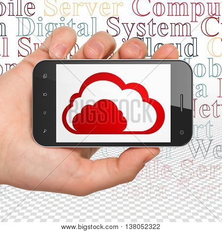 Cloud computing concept: Hand Holding Smartphone with  red Cloud icon on display,  Tag Cloud background, 3D rendering