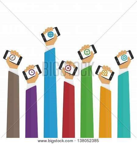 Vector illustration of hands using mobile smartphone with business applications and social media content isolated illustration. Illustration of mobile telephone in his hand in the flat style.