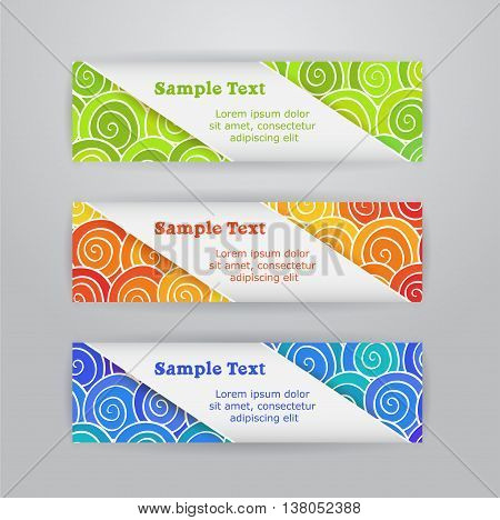 Set of three horizontal banners with colored swirls hand drawn pattern background and tape of paper with text