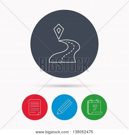 Destination pointer icon. Road location sign. Calendar, pencil or edit and document file signs. Vector