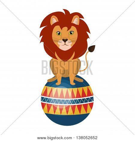 Circus lion doing pirouettes cartoon design, vector illustration graphic.