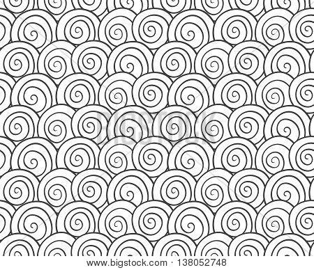 Monochrome seamless pattern with hand drawn swirls.