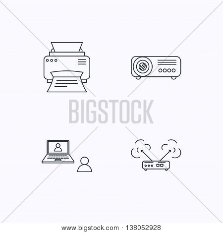 Projector, printer and wi-fi router icons. Video chat linear sign. Flat linear icons on white background. Vector