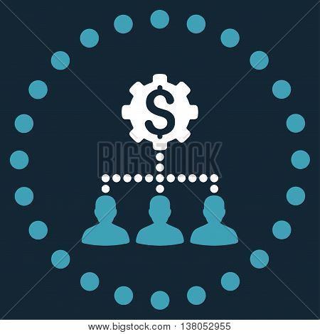 Industrial Bank Clients vector icon. Style is bicolor flat circled symbol, blue and white colors, rounded angles, dark blue background.