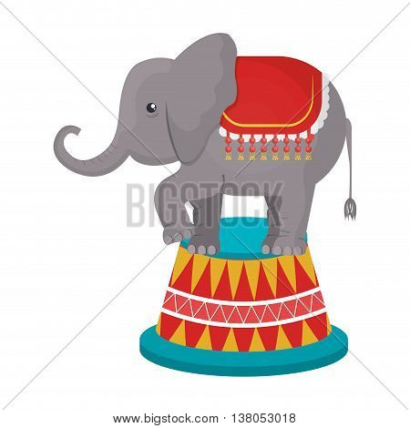 Circus Elephant doing pirouettes cartoon design, vector illustration graphic.